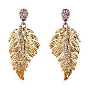 Alexis bittar crystal feather drop earrings